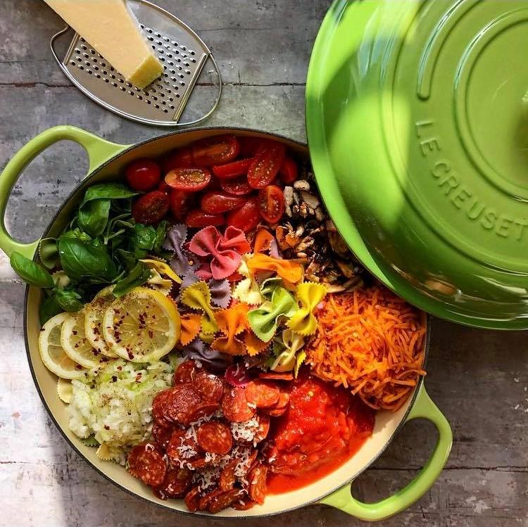 Søndagaften står på den nemmeste pastaret, nemlig one pot pasta med chorizo og diverse grøntsager. Smid alle ingredienser ned i en gryde på én gang. Brug hvad end du har af grøntsager -  jeg har også lavet en version, hvor jeg har tilsat grønkål i stedet for spinat, samt squash og soltørrede tomat (se billede nederst). Hæld vand og madlavningsfløde i, og lad det koge i 10-15 minutter, eller til dine pastaer er al dente. Har du ekstra tid, kan du med fordel lade alt undtagen pasta stå og simre og suge smag i en halv time inden du smider pastaerne i.  Server med frisk basilikum og fintrevet parmasan. Bum, så er der mad, velbekom!